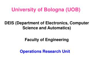 University of Bologna (UOB)