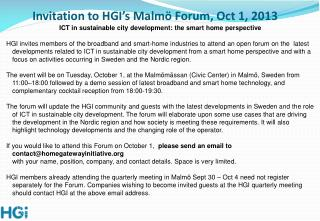Invitation to HGI's Malmö Forum, Oct 1, 2013