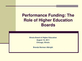 Performance Funding: The Role of Higher Education Boards