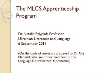 The MLCS Apprenticeship Program