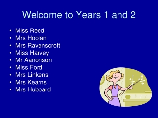 Welcome to Years 1 and 2
