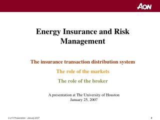 Energy Insurance and Risk Management The insurance transaction distribution system