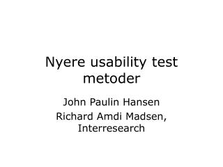 Nyere usability test metoder