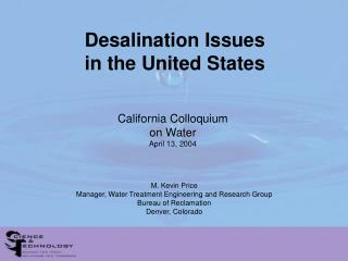 Desalination Issues in the United States