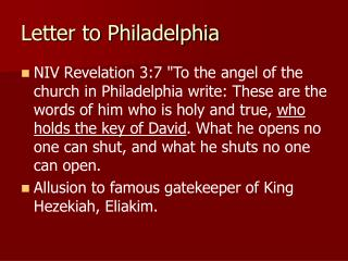 Letter to Philadelphia