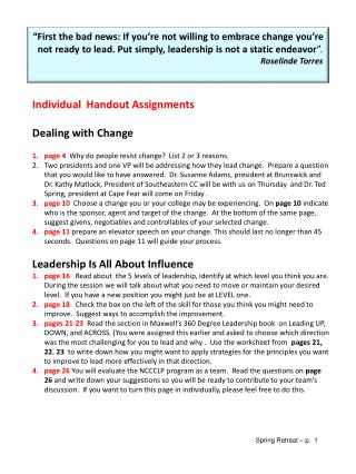 Individual  Handout Assignments Dealing with Change
