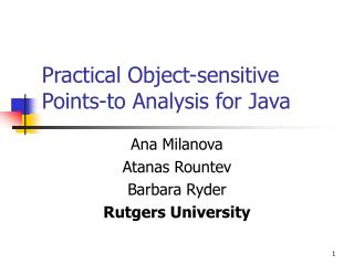 Practical Object-sensitive Points-to Analysis for Java