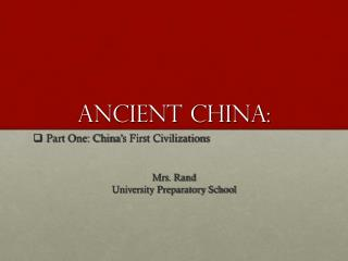 Ancient china: