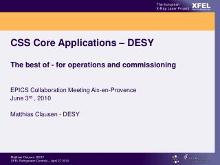 CSS Core Applications – DESY The best of - for operations and commissioning