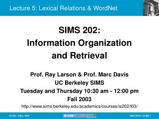 Lecture 5: Lexical Relations & WordNet
