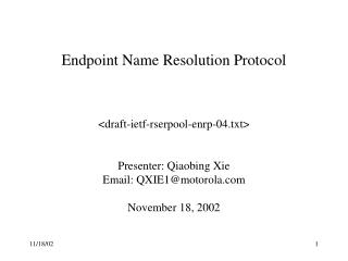 Endpoint Name Resolution Protocol