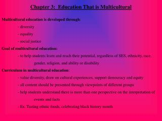 Chapter 3:  Education That is Multicultural