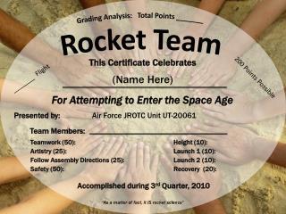 Grading Analysis: Total Points _______ Rocket Team