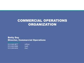 COMMERCIAL OPERATIONS ORGANIZATION Betty Day Director, Commercial Operations bday@ercot