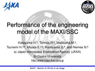 Performance of the engineering model of the MAXI/SSC