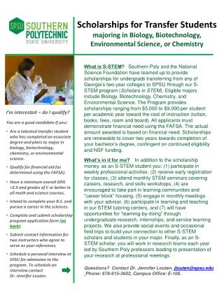 Scholarships for Transfer Students majoring in Biology, Biotechnology,