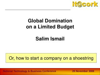 Global Domination  on a Limited Budget Salim Ismail