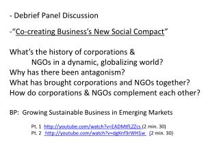 "- Debrief Panel Discussion "" Co-creating Business's New Social Compact """