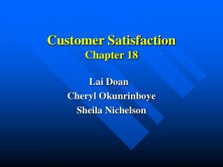 Customer Satisfaction  Chapter 18