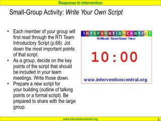 Small-Group Activity:  Write Your Own Script