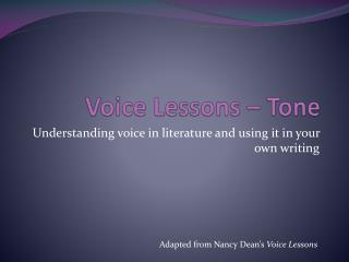 Voice Lessons – Tone