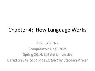 Chapter 4:  How Language Works