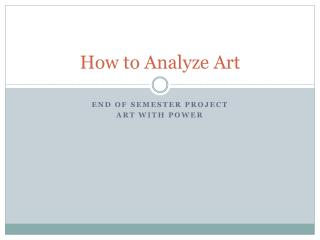 How to Analyze Art