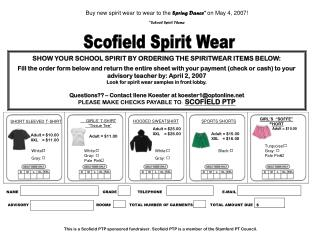 SHOW YOUR SCHOOL SPIRIT BY ORDERING THE SPIRITWEAR ITEMS BELOW: