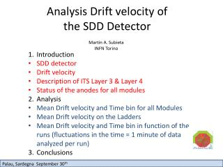 Analysis Drift velocity of the SDD Detector