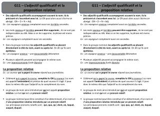 G11 – L'adjectif qualificatif et la proposition relative