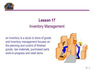 An inventory is a stock or store of goods and inventory management focuses on the planning and control of finished goods