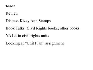 Review Discuss Kizzy Ann Stamps Book Talks: Civil Rights books; other books