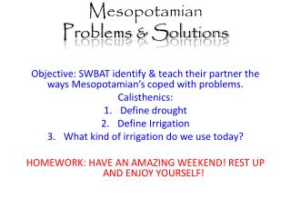 Mesopotamian  Problems & Solutions