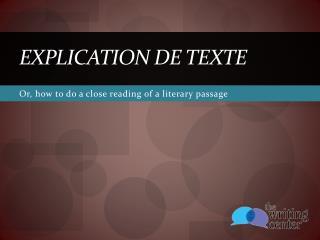 Explication de texte