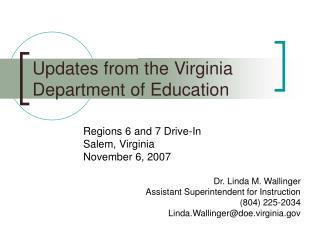 Updates from the Virginia Department of Education