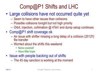 Comp@P1  Shifts and LHC