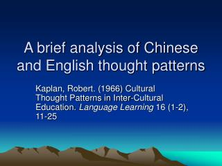 A brief analysis of Chinese and English thought patterns