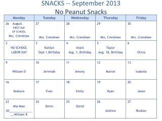 SNACKS -- September  2013 No  Peanut Snacks