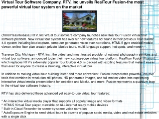 Virtual Tour Software Company, RTV, Inc unveils RealTour Fus
