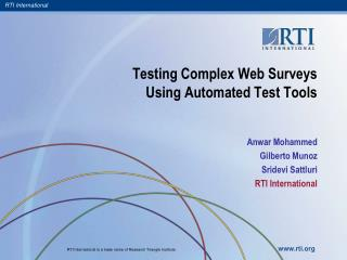 Testing Complex Web Surveys Using Automated Test Tools