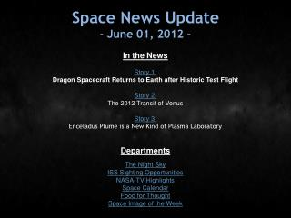 Space News Update - June 01, 2012 -