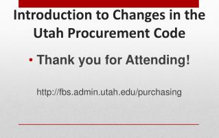 Introduction to Changes in the Utah Procurement Code