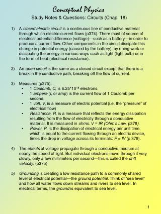 Conceptual Physics Study Notes & Questions: Circuits (Chap. 18)