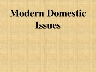 Modern Domestic Issues