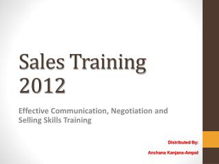 Sales Training 2012