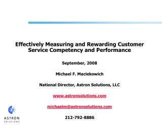 Effectively Measuring and Rewarding Customer Service Competency and Performance