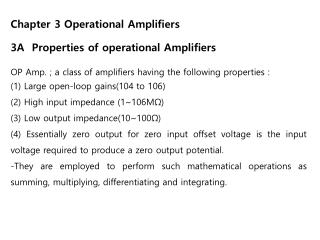 Chapter 3 Operational Amplifiers 3A  Properties of operational Amplifiers