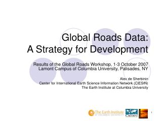 Global Roads Data:  A Strategy for Development