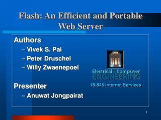 Flash: An Efficient and Portable Web Server