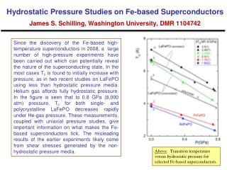 Above :  Transition temperature versus hydrostatic pressure for selected Fe-based superconductors.